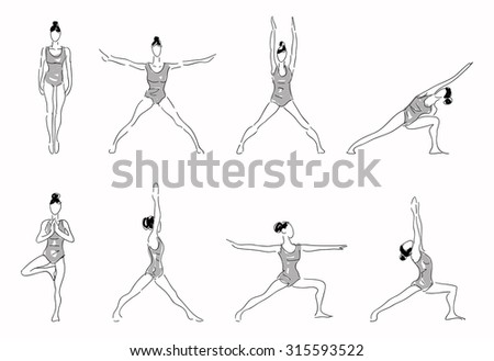 Complex of yoga stretching poses  - stock vector