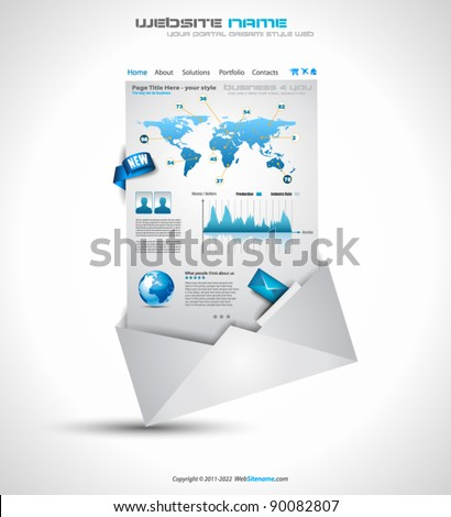 Complex Origami Website - Elegant Design for Business Presentations. Template with a lot of design elements. Every Shadow is transparent - stock vector