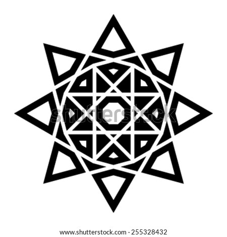 Complex Star Burst Circle Design Vector Icon - stock vector
