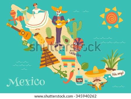 complex vector illustration of Mexico map with key mexican elements and spanish text Lucha libre translated as wrestling, and Hola, amigo which is translated as Hello friend - stock vector
