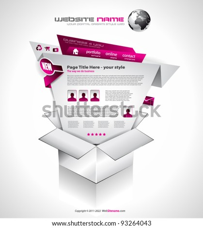 Complex Website Template - Elegant Design for Business Presentations. Template with a lot of design elements and infographics. - stock vector