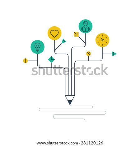 Components of creative writing or drawing. Learning concept. Self education. Storytelling. - stock vector