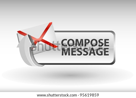 compose message button, compose message icon and button - stock vector