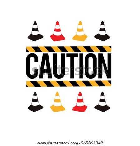 Composition: caution tape sign, yellow, red, black traffic cone. Baby boy t-shirt design. Road, building. Vector isolated decoration for children's room, birthday invitations, website, mobile app.