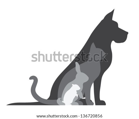 Composition of animal silhouettes: dog, cat, rabbit, hamster. - stock vector