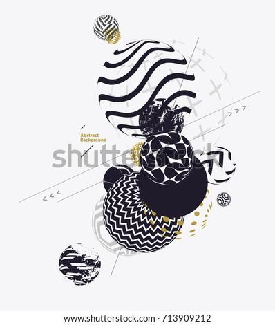 Composition Black White Decorative Balls Stock Vector 40 Gorgeous Black And White Decorative Balls