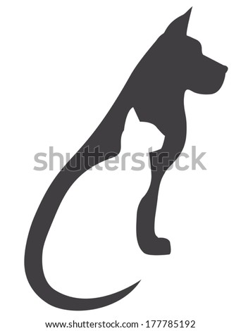 Dog and cat silhouette tattoo - photo#26