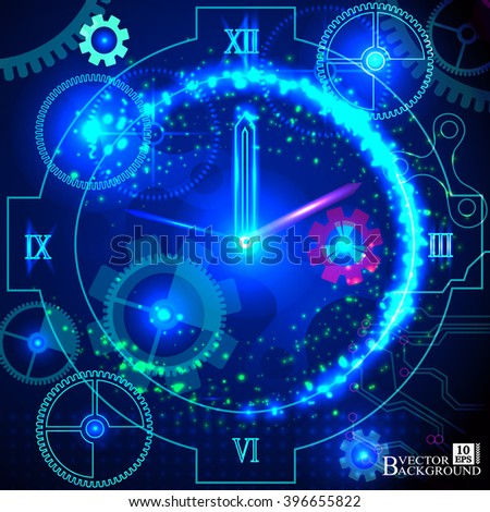 Composition of gears, clock elements, dials and dynamic swirly lines on the subject of scheduling, temporal and time related processes, deadlines, progress, past, present and future.Vector - stock vector