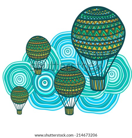 Composition of hand drawn air balloons on a cloudy background. Vector illustration.