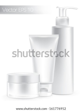 Composition of packaging containers white color, cream, beauty products set. Vector