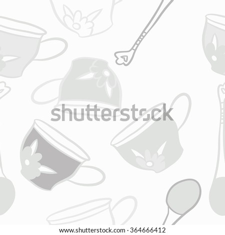Composition of  seamless pattern, doodles, caps, teaspoons,leaves,spots, floral ornament, hole. Hand drawn.