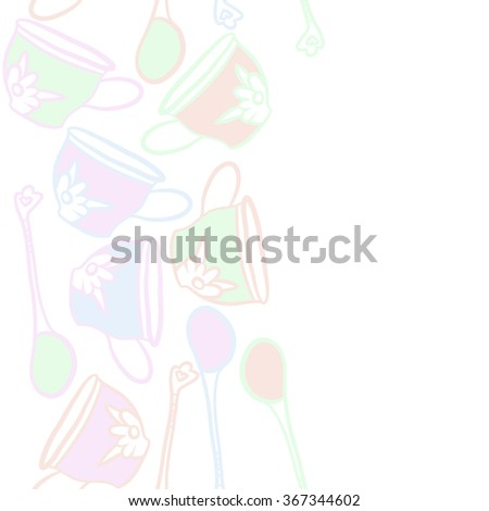 Composition of  seamless pattern, doodles, caps, teaspoons,leaves,spots, floral ornament, vertical,copy space. Hand drawn.