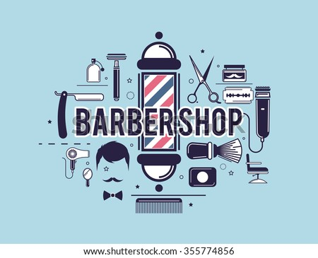 Composition of the set of icons for the Barber shop. Vector elements for your web design, in flat linear illustration style - stock vector