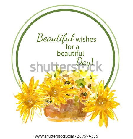 Composition of yellow sunflower painted in watercolor for your design - stock vector