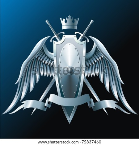 Composition with crown, swords, wings, badge and ribbon.