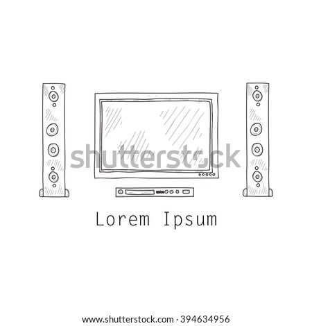 Composition with cute hand drawn TV screen, loudspeakers and DVD player. Vector - stock vector