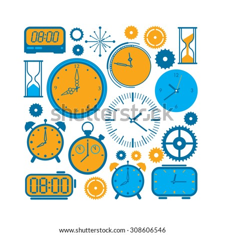 Composition with time and clock symbols in a shape of square. - stock vector