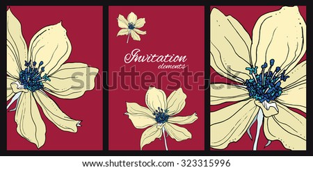 Composition with wild clematis flowers for wedding printing products: cards, invitations, menu. Pale yellow flowers on burgundy background.  - stock vector