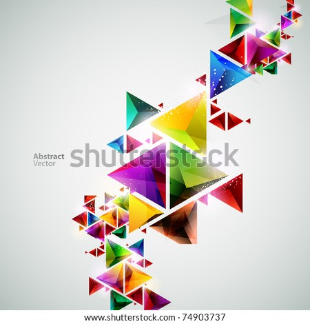 Compositions of colored triangles - stock vector