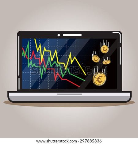 Computer and decreasing graph with euro money. - stock vector