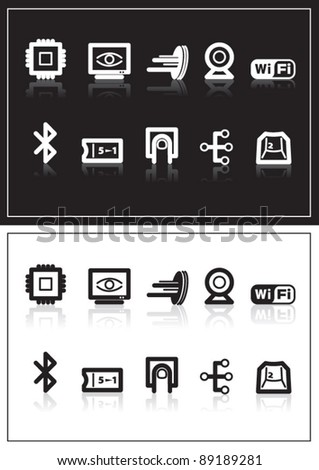 Computer and device icons - stock vector