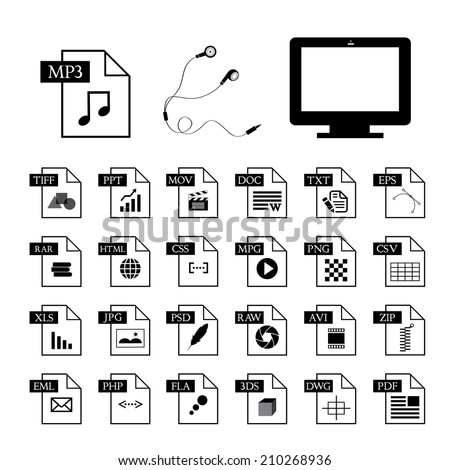 computer and file type icon set  - stock vector