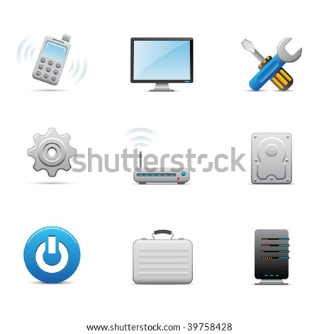 Computer and hardware icons - stock vector