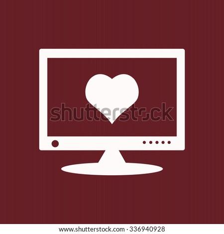 Computer Heart Cyberlove Symbol Icon Vector Stock Vector 336940928