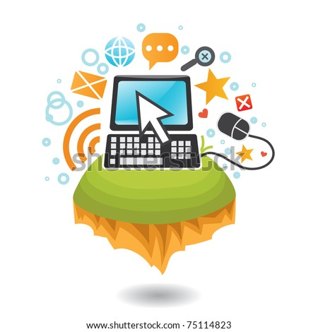 Computer and Internet world - stock vector