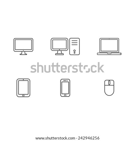 Computer and Mobile Thin Icons Design. Vector - stock vector