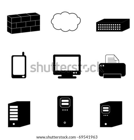 Computer and network icons in black