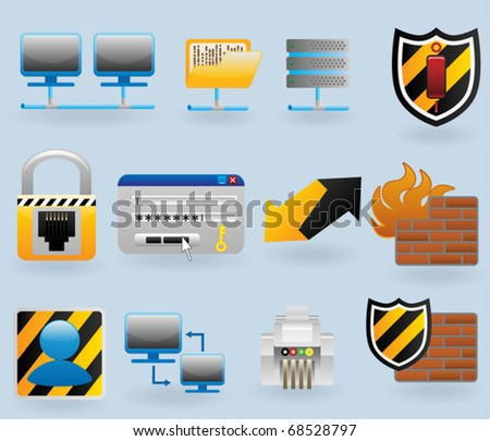 Computer and network icons set for web design - stock vector