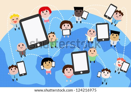 computer networking cartoon vector stock vector 124216975