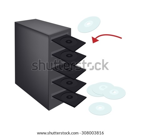 Computer and Technology, CD, DVD or Blu-ray Duplicator Isolated on White Background, The Medium Can Store any Kind of Digital Data. - stock vector