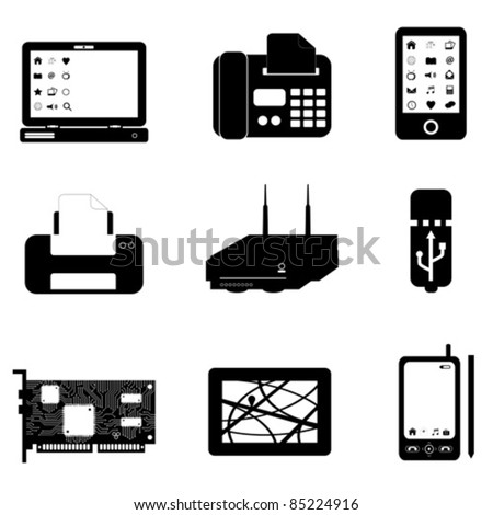 Computer and technology objects on white - stock vector