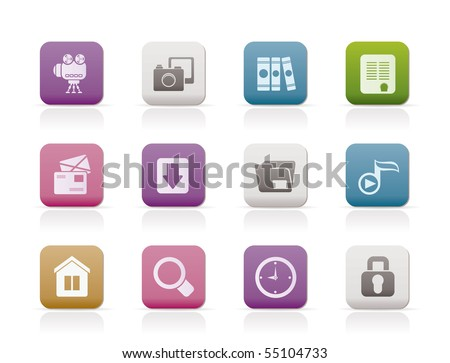 Computer and website icons - vector icon set - stock vector