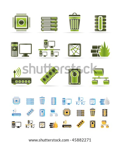 Computer and website icons - vector icon set - 3 colors included - stock vector