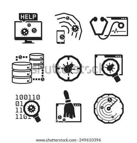 Computer Anti Virus icons set // BW Black & White - stock vector