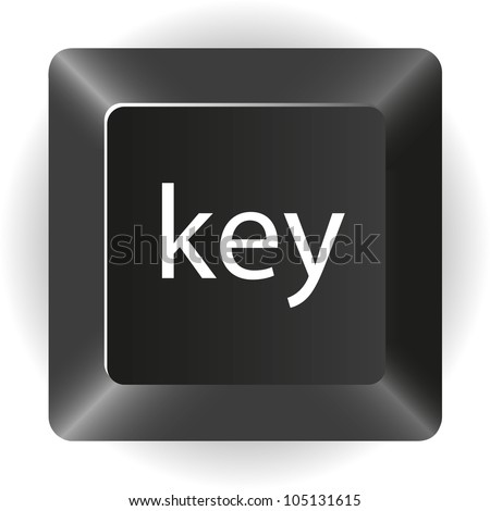 computer black key, isolated on white background, vector illustration