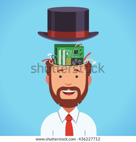 Computer brain head with motherboard and processor. Bearded smart business man silicon artificial intellect human in cylinder hat. Flat style vector illustration clipart. - stock vector
