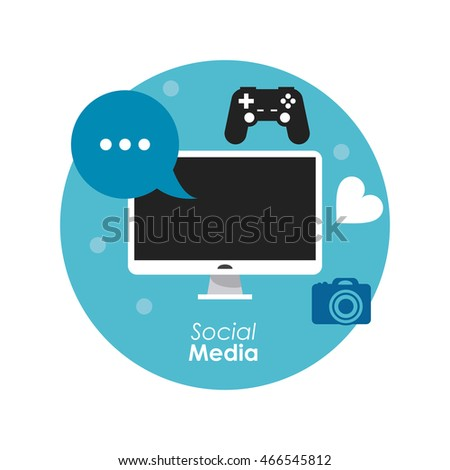computer bubble game gadget social media icon set. Colorful and flat illustration. Vector graphic