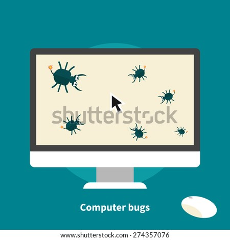 Computer bugs, data loss, pirate software - isolated flat vector illustration. - stock vector