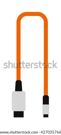 Computer cable connection and computer equipment data connect cable. Computer cable digital cord connector internet power line. Cable wire computer plug connection technology . - stock vector