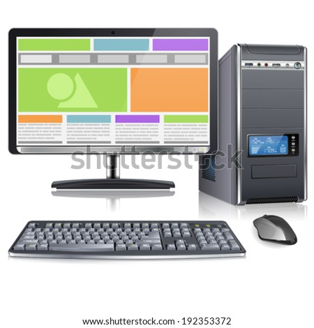 Computer Case with Monitor, Keyboard, Mouse and Responsive Web Design on Screen, isolated on white background, vector - stock vector