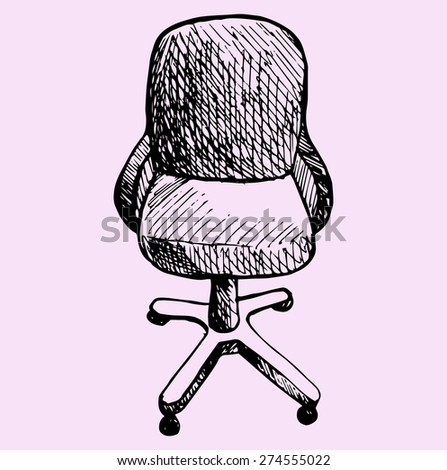 computer chair, doodle style. sketch illustration - stock vector