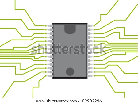 Computer chip - stock vector