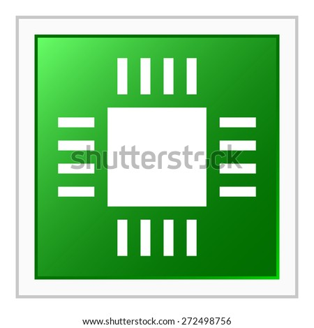 Computer Chip icon on a square button. - stock vector