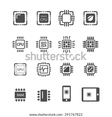 Computer Chips icons,Vector - stock vector