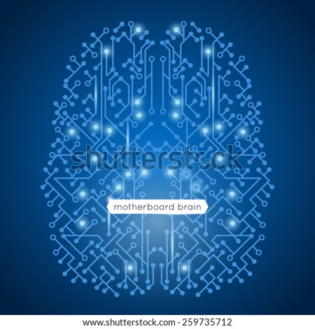 Computer circuit motherboard in brain shape technology and artificial intelligence concept vector illustration