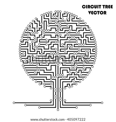 Computer circuit scheme tree. Technology icon. Network concept. Vector illustration.